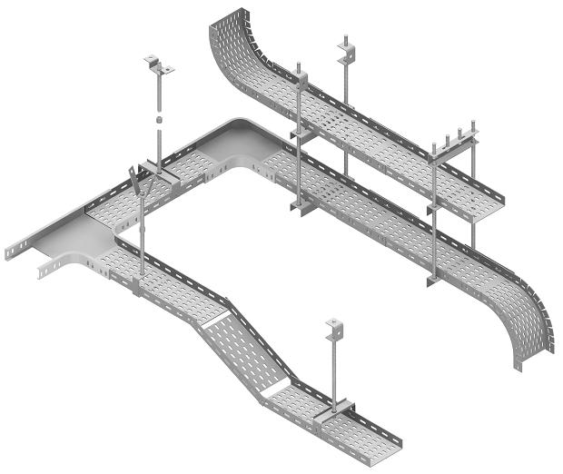 Delikli kablo kanalları (tavalar) H:25 , 40 , 50 , 60 , 80, 100 mm